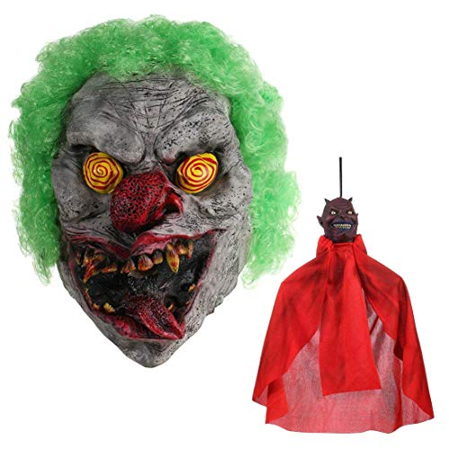 Hyaline&Dora Halloween Latex Clown Mask With Hair for Adults,Halloween Costume Party Props Masks With Holloween Hanging Prop Randomly -