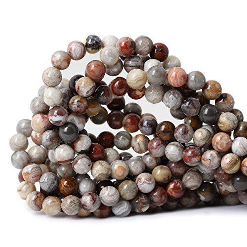 Qiwan 45PCS 8mm Natural Mexico Laguna Lace Agate Onyx Gemstone Round Loose Beads for Jewelry Making 1 Strand 15""