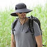 Outdoor Mountaineering Men's Wide Brim Hat, Sunscreen Fishermans Bucket Hat Permeability Good Cotton Cap (Dark Gary)