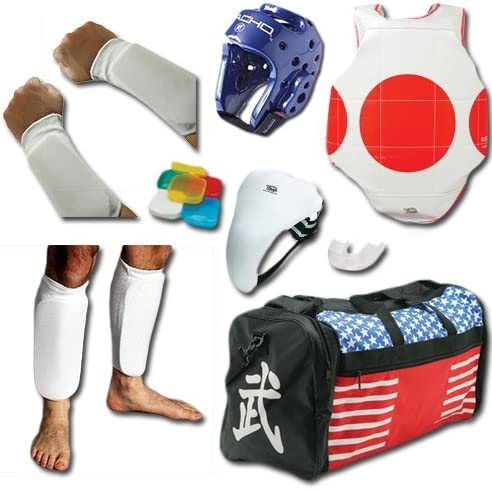 Complete布Sparring Gear Set w/Shin、Groin &バッグ ブルー adult-large