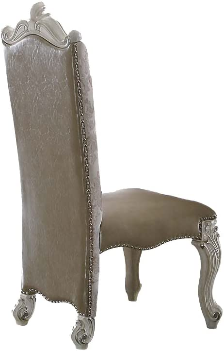 ACME Versailles Side Chair (Set-2) - 61132 - Vintage Gray PU/Fabric & Bone White