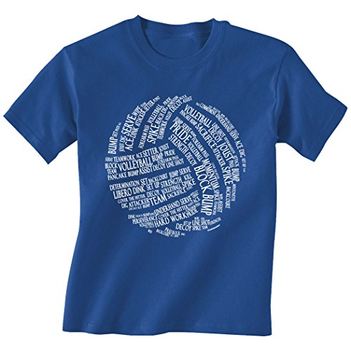 Volleyball Words T-Shirt | Volleyball Tees by ChalkTalkSPORTS | Royal | Youth X-Large (Volleyball Spike T-shirt)
