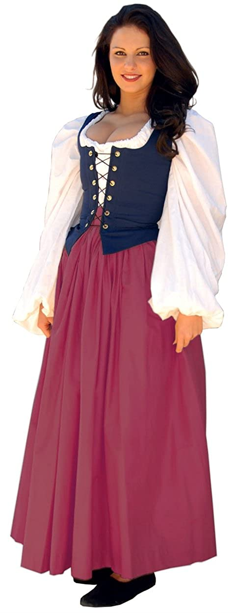 Renaissance Gathered Soft Cotton Crimson Skirt by Sofi's Stitches - DeluxeAdultCostumes.com