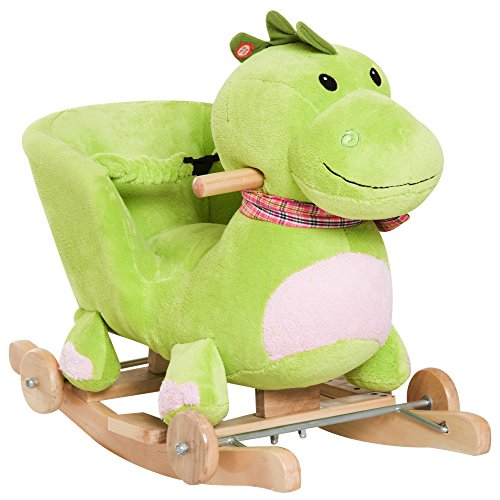 - Qaba Kids Interactive 32 Songs and Rhymes Plush Ride-On Stroller Rocking Dinosaur Toy