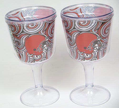 Cleveland Browns fathers Day Wine Goblet set. Two large Acrilic Festive Goobers for Beer, wine and soft drinks