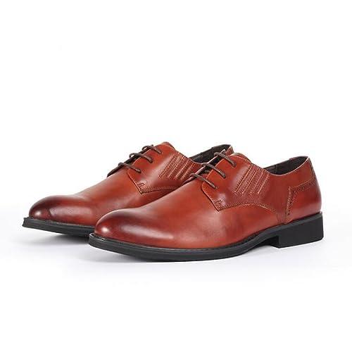 Zapatos de Cuero para Hombres Transpirable Vestido Formal Ocio Negro Negocio Zapatos Marrones: Amazon.es: Zapatos y complementos