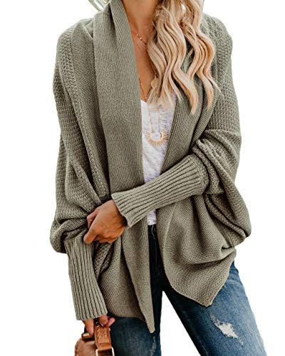 Imily Bela Womens Kimono Batwing Cable Knitted Slouchy Oversized Wrap Cardigan Sweater (X-Large, Army Green)