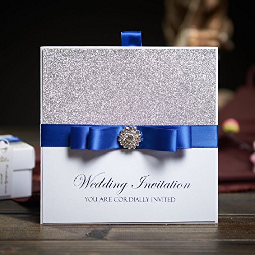 50 Traditional Pocket Wedding Party Invitations With Blue Ribbon U0026  Rhinestone Buckle Custom Wedding Cards Free RSVP U0026 Envelope NK741
