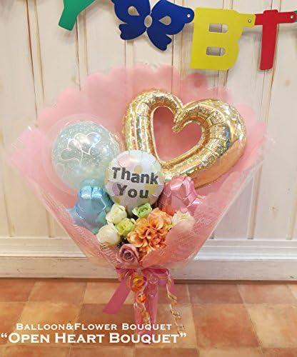 バルーンの花束型ブーケ 〜オープンハートブーケ〜 (ありがとう(サンキュー)柄, パステルカラフル系)