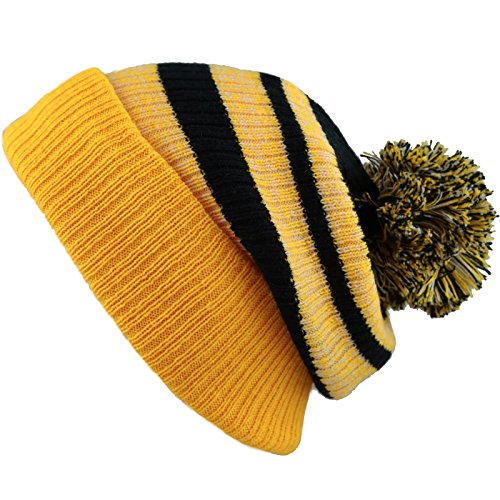 d Cuffed Knit Beanie Winter Hat with Pom (Gold-Black) ()