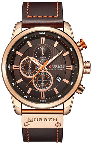 Mens Leather Strap Watches Classic Casual Dress Stainless Steel Waterproof Chronograph Date Analog Quartz Watch (Brown Rose)