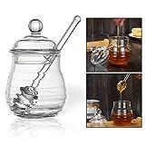 OFKPO Honey Pot Dipper Glass Honey Jar Dipper Set
