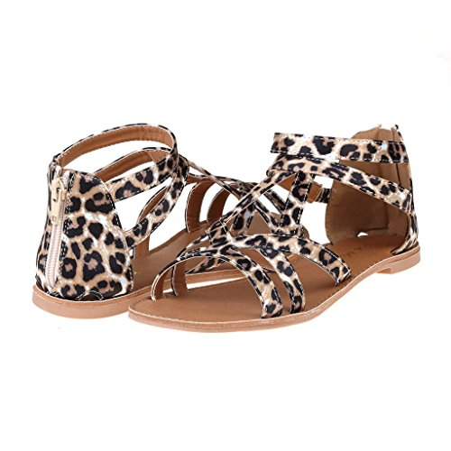 DREAM PAIRS SAPHA Womens Summer Trendy Print Gladiator Back Zipper Flat Sandals
