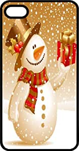 Happy Snowman With A Wrapped Christmas Present Black Rubber Case for Apple iPhone 5 or iPhone 5s