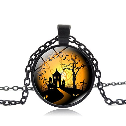 Livoty Vintage Happy Halloween Glass Chain Pendant Necklace NEW (A)