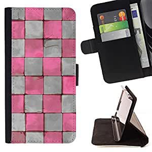 - Pink White Distressed Checkered - Estilo PU billetera de cuero del soporte del tir???¡¯????n [solapa de cierre] Cubierta- For Sony Xperia Z2 D6502 £š Devil Case £©