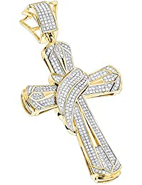36e0c567758 Large 10K Gold Mens Natural 1 Ctw Diamond Cross Necklace Pendant