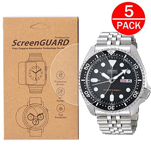 [5-Pack] For Seiko SKX007 Watch Screen Protector, Full Coverage Screen Protector for Seiko SKX007/SKX007J1/SKX007K1/SKX007K2 Watch HD Clear Anti-Bubble and (5 Superior Automatic Mens Watch)