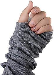 Fingerless Elastic Winter Thick Wrist Hand Arm Warmers Gloves Warm Wear Grey for Women Ladies