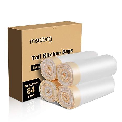 Meidong Bolsas Basura 50L (4 Rollos, 84 Cuentas en Total, 0,79 min)