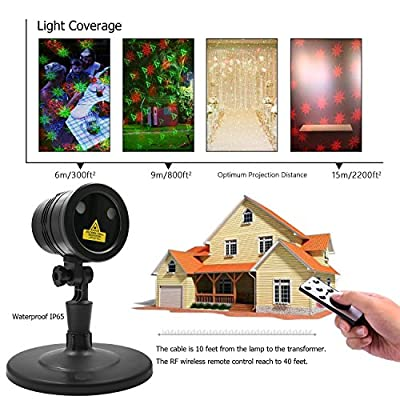 Christmas Laser Lights, Vansky Moving Star Shower with RF Remote Control, Red and Green Star with 5 Lighting Modes for Christmas Decration, FDA Approved