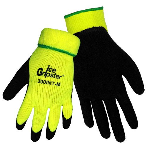 Global Glove 300INT Ice Gripster Acrylic Terrycloth Glove, Work, Extra Large, Neon yellow/Black (Case of 72)