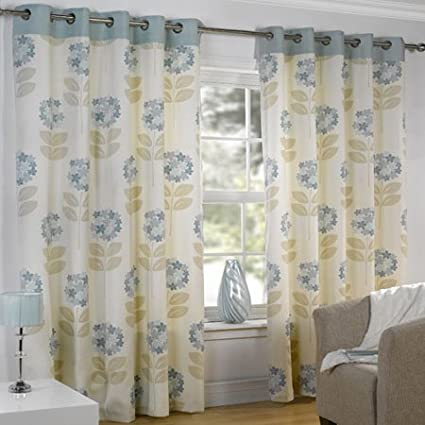 Maisy Duck Egg Blue Pair Of Eyelet Curtains