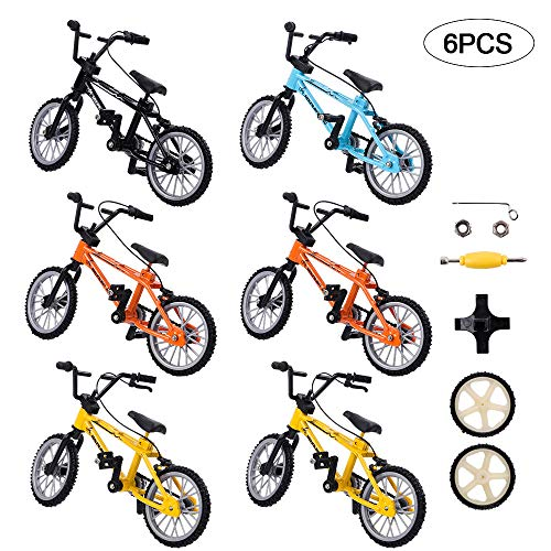 VANKERTER 6 Pcs Mini Finger Mountain Bikes with Brake Ropes Finger Double-bar Bicycle with Accessories Toy Games for Party Favors Gifts