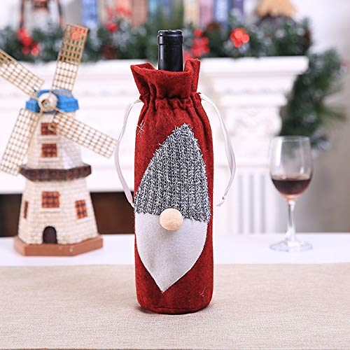 SUJING Christmas Wine Bags with Drawstrings,Wine Bags Gift, Reusable Bottle Bags,Christmas Drawstring Red Wine Bottle Cover Bags (A)