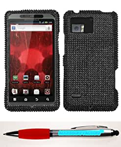 Accessory Factory(TM) Bundle (Phone Case, 2in1 Stylus Point Pen) MOTOROLA XT875 (Droid Bionic) Black Full Diamond Bling Protector Cover(Full 2.0) Stylish Design Snap On Hard Case Cover Faceplate Shell