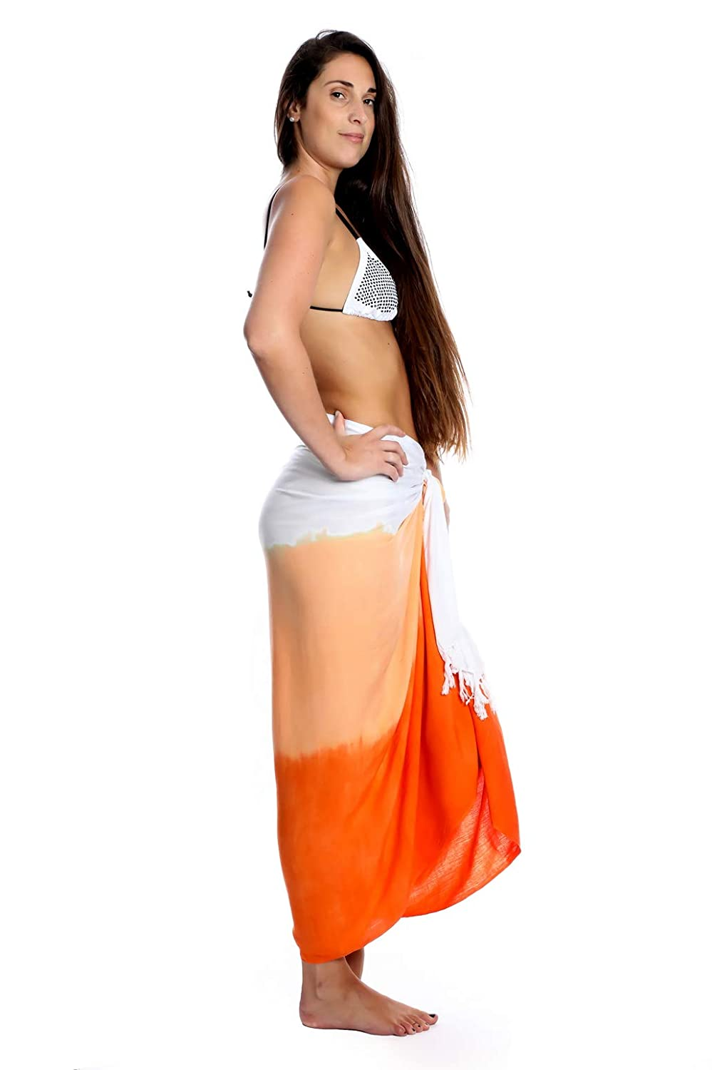fc0225344 Uluwatu Collection Women's Tie Dye Sarong Beach Wrap Swimsuit Cover up  Pareo (Orange) at Amazon Women's Clothing store:
