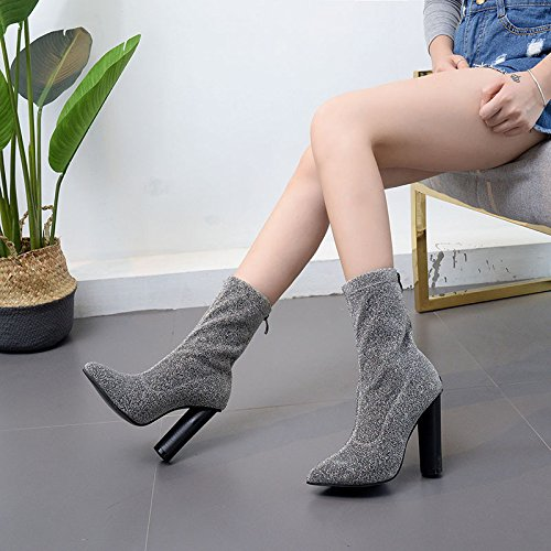 ZHZNVX In the double barrel boots female boots fashion tip thick with high-heeled shoes Black AB23CJy