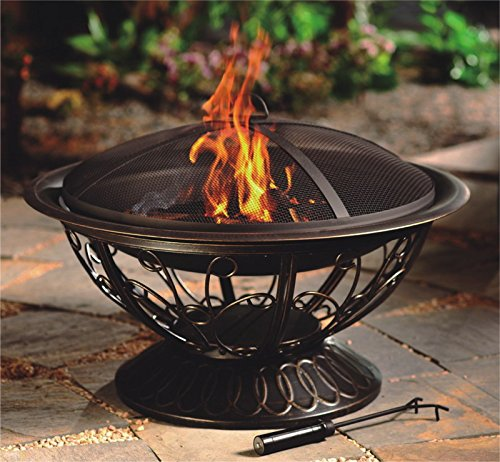 Hiland FT-022, Steel/Black - Steel Construction with an Antique Finish Domed Mesh Screen Wood Grate - patio, outdoor-decor, fire-pits-outdoor-fireplaces - 51kkx88AK L -