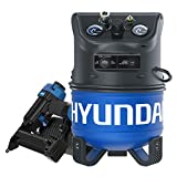 Hyundai HHC2GNK Vertical Style Electric Air Compressor Nail Kit with 2-in-1 Brad Nailer/Stapler