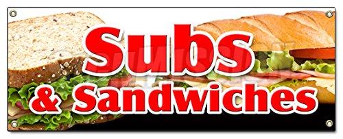 SUBS & Sandwiches Banner Sign Hero hoagie Huge Homemade Grinders Drinks