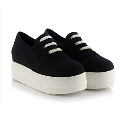 8697eb2a2750 Summerwhisper Women s Round Toe Slip on Platform Canvas Shoes Low Top Casual  Loafers Sneakers Black 4