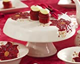 Red Poinsettia Christmas Holiday Pedestal Cake Stand