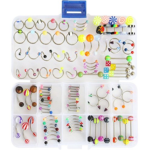 100pcs 15 Styles 14g 16g Mix Body Piercing Jewelry Kit Navel Belly Button Ring Ear Tongue Nipple Rings Nose Eyebrow Barbell with Jewelry Box