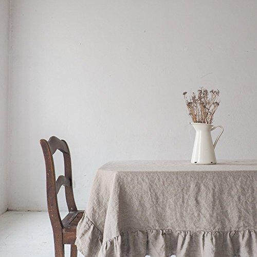 Linen Ruffled Tablecloth, Natural Linen Tablecloth, Rustic Tablecloth,  Custom Size