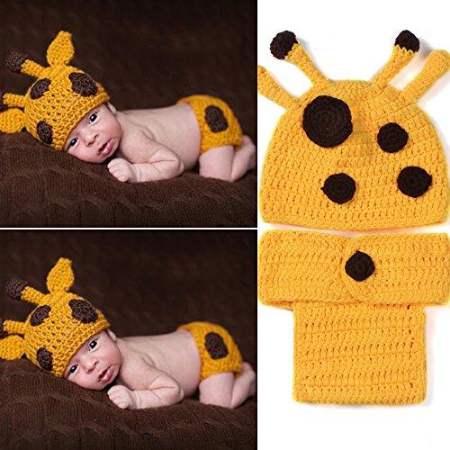 yazi Yellow Deer Giraffe Crochet Knit Costume Set Newborn Infant Photography Props Baby Shower (Newborn Giraffe Costume)