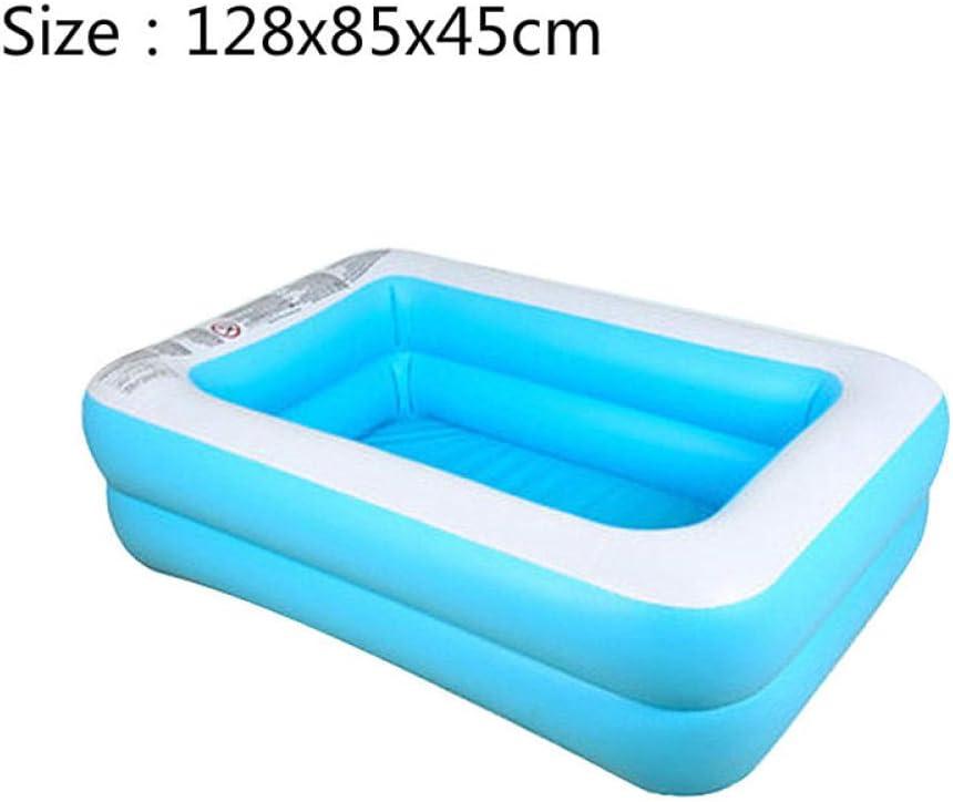 HtapsG Piscinas Desmontables con Depuradora Natación Inflable para Niños Bañera De Baño De Gran Tamaño Uso En El Hogar para Niños Remar PVC Natación Cuadrada para Bebé-Estilo2 128X85X45Cmintex