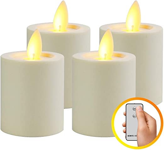 Amazon.com: Paquete de 4 velas MaLivent sin llama, funciona ...