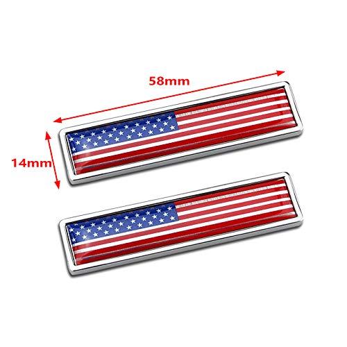 EE. 14mm Tama/ño Rect/ángulo peque/ño Etiqueta engomada del Coche de Metal Etiqueta 3D Emblema de la Bandera de Am/érica Se/ñales Nacionales EE.UU PT-Decors 58mm