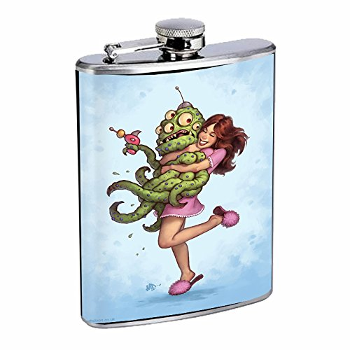 Stainless Steel 8oz Hip Silver Flask Retro Alien Abduction S2 Space Invaders Paranormal by American Empire