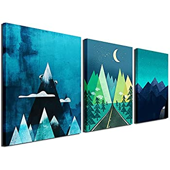 d94e56f7a95 Gardenia Art - Abstract Mountain at Night Canvas Prints Wall Art Paintings  Abstract Geometry Wall Artworks
