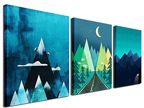 Gardenia Art - Abstract Mountain at Night Canvas Prints Wall Art Paintings Abstract Geometry Wall Artworks Pictures for Living Room Bedroom Decoration, 16x12 inch/piece, 3 Panels