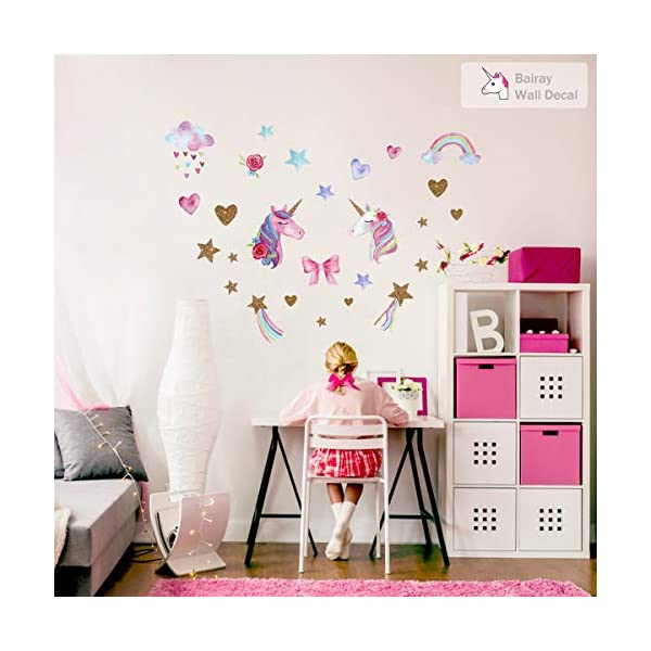 Unicorn Wall Decal,66pcs Unicorn Wall Decor Stickers Decals for Kids Rooms Gifts for Girls Boys Bedroom Nursery Home Party Favors 5