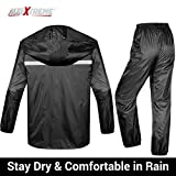 AllExtreme EXRRC3B Waterproof Rain Coat Jacket and Pant with Reflective Strips and Tape Stitching Water Resistant Rain Suit for Men and Women (XXXL)