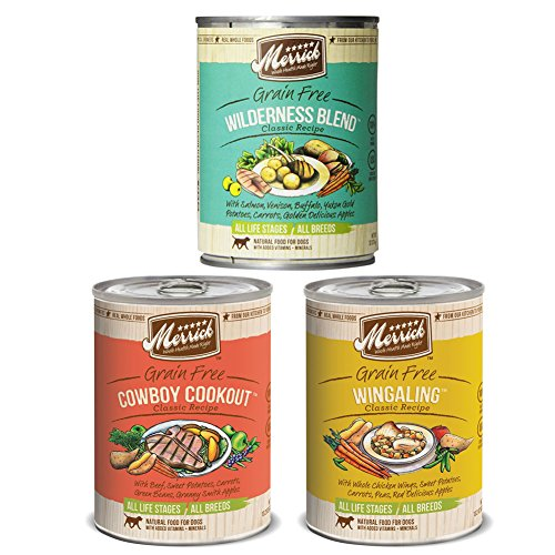 Merrick Classic Recipe Canned Dog Food Variety (12 Pack) - Wilderness Blend, Cowboy Cookout & Wingaling