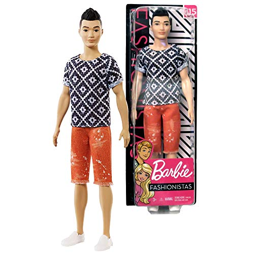 FAS Year 2018 Fashionistas Series 12 Inch Doll #115 - Asian Model Ken in Boho Hip Black White Tops and Peach Red Denim Shorts ()